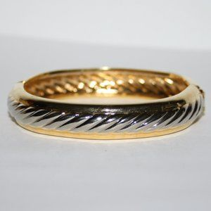 Vintage silver and gold bangle hinged bracelet